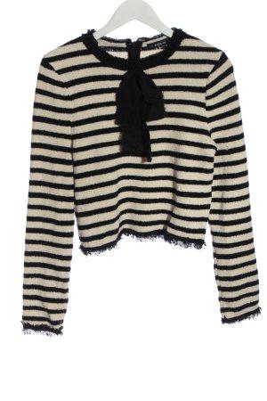 Zara Knit Grobstrickpullover schwarz-wollweiß Streifenmuster Casual-Look