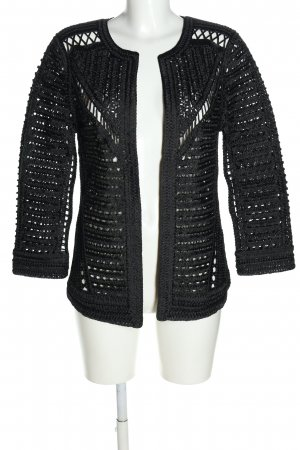 Zara Knit Crochet Cardigan black casual look