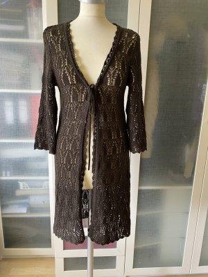 Zara Knit Płaszcz z dzianiny czarno-brązowy