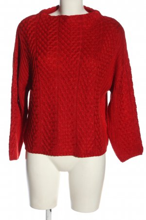 Zara Knit Crochet Sweater red casual look