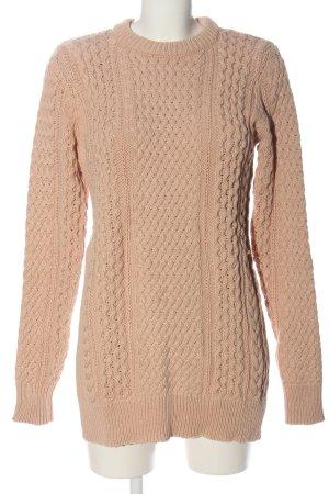 Zara Knit Pullover all'uncinetto color carne punto treccia stile casual