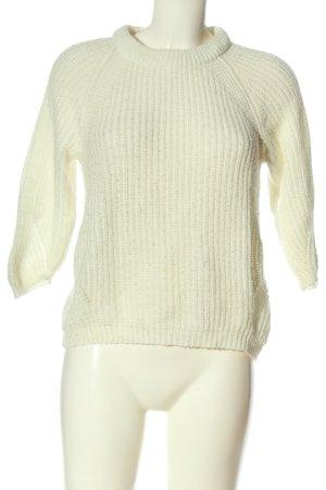 Zara Knit Jersey de ganchillo blanco puro punto trenzado look casual