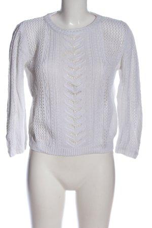 Zara Knit Szydełkowany sweter jasnoszary Warkoczowy wzór W stylu casual