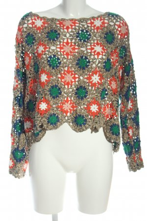 Zara Knit Crochet Sweater multicolored casual look