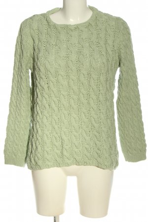 Zara Knit Crochet Sweater green cable stitch casual look