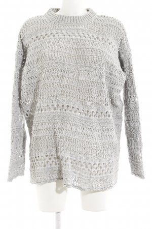 Zara Knit Crochet Sweater light grey loosely knitted pattern casual look