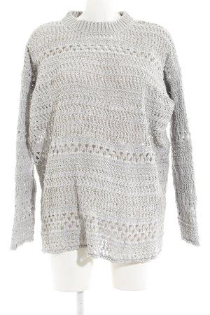 Zara Knit Jersey de ganchillo gris claro modelo de punto flojo look casual