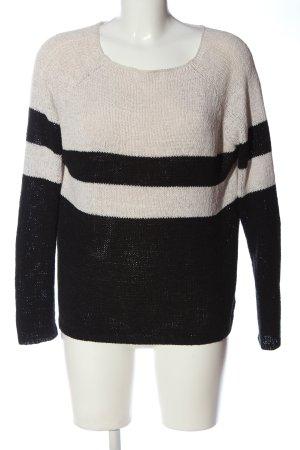 Zara Knit Top en maille crochet blanc-noir motif rayé style décontracté