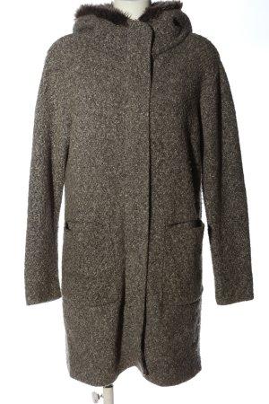 Zara Knit Manteau à capuche gris clair moucheté style décontracté