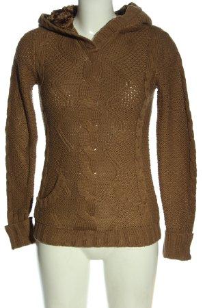 Zara Knit Bluza z kapturem brązowy W stylu casual