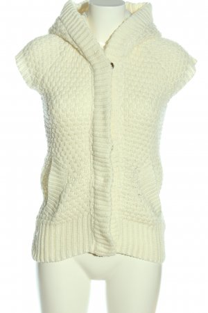 Zara Knit Smanicato con cappuccio bianco sporco punto treccia stile casual