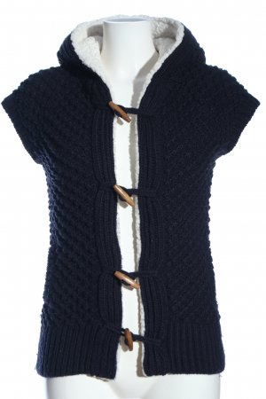 Zara Knit Hooded Vest blue-white cable stitch casual look