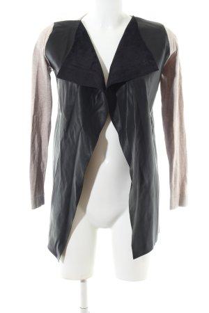 Zara Knit Kunstlederjacke wollweiß-schwarz Casual-Look