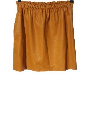 Zara Knit Jupe en cuir synthétique orange clair style décontracté