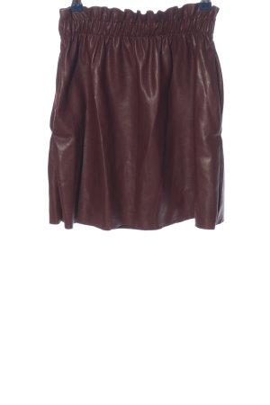 Zara Knit Jupe en cuir synthétique rouge style décontracté