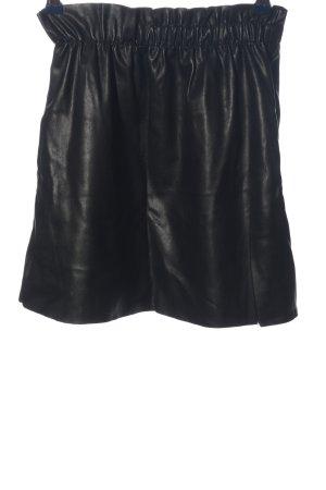 Zara Knit Rok van imitatieleder zwart casual uitstraling