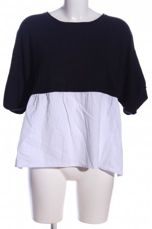 Zara Knit Jersey de manga corta blanco-negro look casual