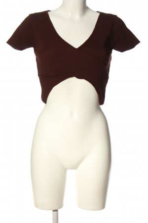 Zara Knit Cropped Shirt braun Casual-Look