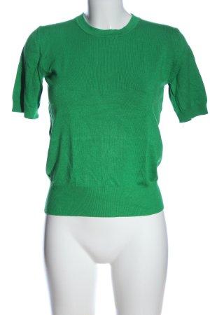 Zara Knit Kurzarm-Bluse grün Casual-Look