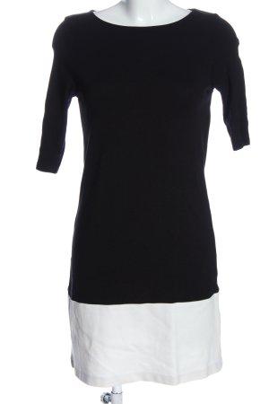 Zara Knit Kurzarmkleid schwarz-weiß Business-Look