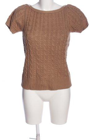 Zara Knit Sweater met korte mouwen bruin casual uitstraling