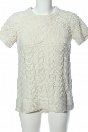 Zara Knit Short Sleeve Sweater white cable stitch casual look