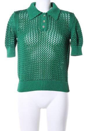 Zara Knit Kurzarmpullover grün Casual-Look