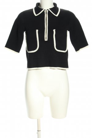 Zara Knit Short Sleeve Sweater black-white casual look