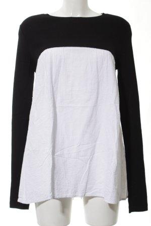 Zara Knit Langarm-Bluse weiß-schwarz Casual-Look