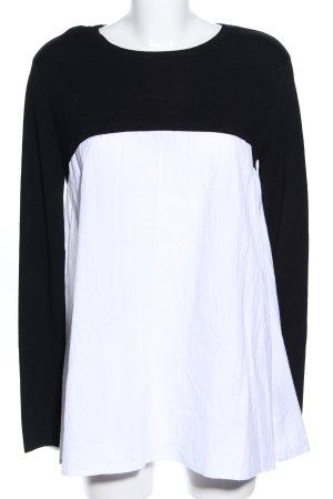 Zara Knit Langarm-Bluse schwarz-weiß Casual-Look