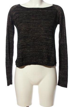 Zara Knit Langarm-Bluse schwarz meliert Casual-Look