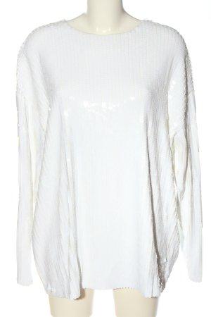 Zara Knit Langarm-Bluse weiß Casual-Look
