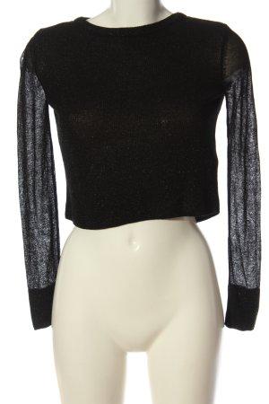 Zara Knit Langarm-Bluse schwarz Elegant
