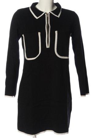 Zara Knit Langarmkleid schwarz-weiß Casual-Look