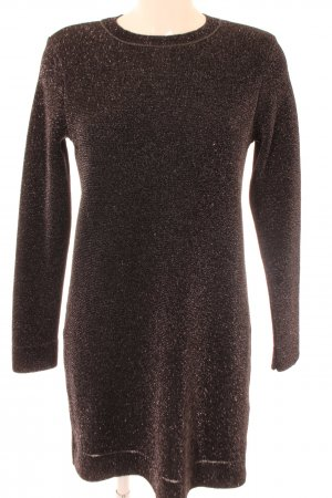 Zara Knit Langarmkleid schwarz-silberfarben Elegant