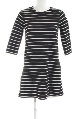 Zara Knit Langarmkleid schwarz-weiß Streifenmuster Elegant