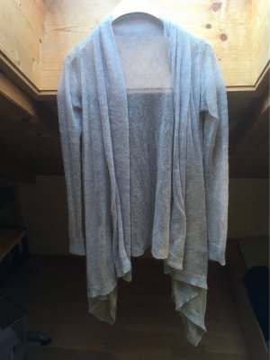 Zara Knit Long Cardigan hellgrau