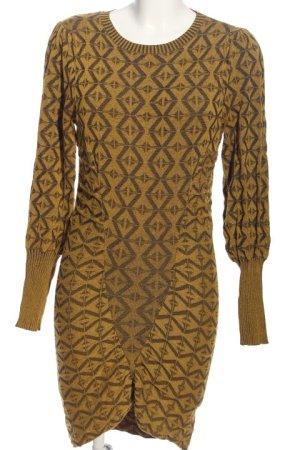 Zara Knit Jersey largo color bronce-negro estampado gráfico look casual