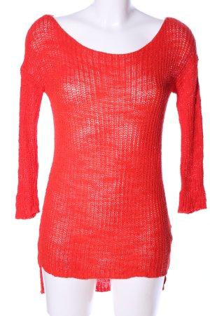 Zara Knit Longpullover rot Zopfmuster Casual-Look
