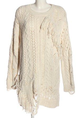 Zara Knit Jersey largo blanco puro punto trenzado look casual