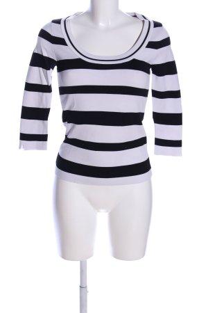 Zara Knit Longsleeve weiß-schwarz Streifenmuster Casual-Look