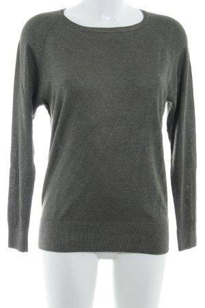 Zara Knit Longsleeve dunkelgrün-silberfarben Glitzer-Optik
