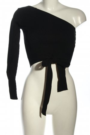 Zara Knit One-Shoulder-Top schwarz Casual-Look