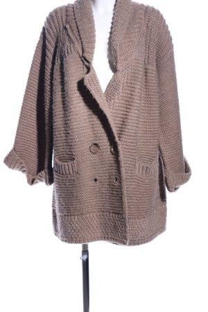 Zara Knit Oversized Jacke braun Casual-Look