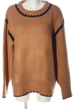 Zara Knit Oversized Pullover hellorange-schwarz Zopfmuster Casual-Look