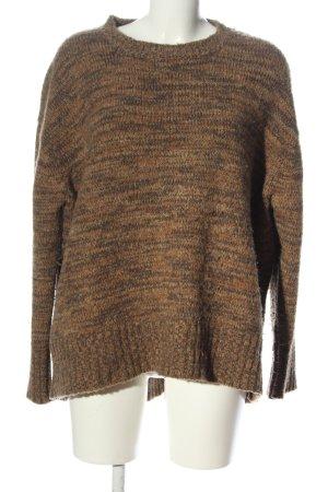 Zara Knit Sweter oversize brązowy Melanżowy W stylu casual