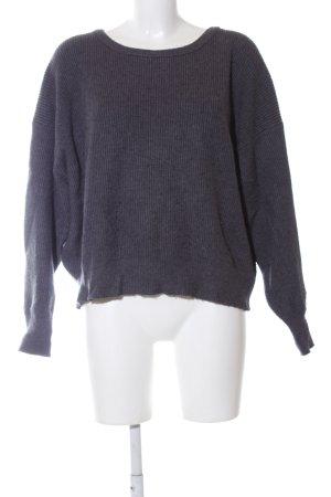 Zara Knit Oversized Pullover blau meliert Casual-Look