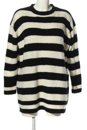 Zara Knit Oversized Pullover schwarz-weiß Streifenmuster Casual-Look