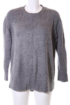 Zara Knit Oversized Pullover hellgrau meliert Casual-Look