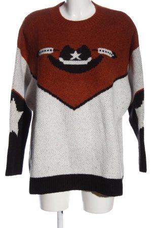 Zara Knit Oversized Pullover Motivdruck Casual-Look